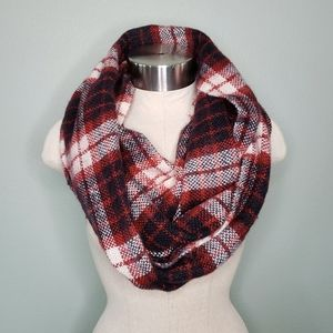 LOFT red & black plaid thick woven infinity scarf